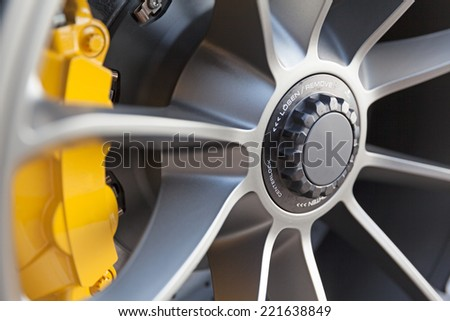 Close up of rims from a sportscar - stock photo