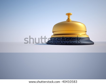 Close up of ringing reception bell - 3d render - stock photo