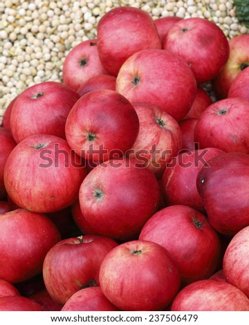 Close up of ripe red organic apples  - stock photo