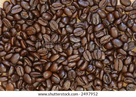 Close up of roasted coffee beans - stock photo