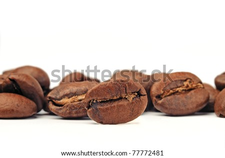 Close-up of Roasted Coffee Beans - stock photo