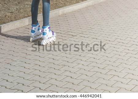 Close up of roller skate shoes - stock photo
