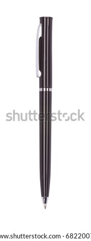 Close up of rollerball pen isolated with clipping path on white - stock photo