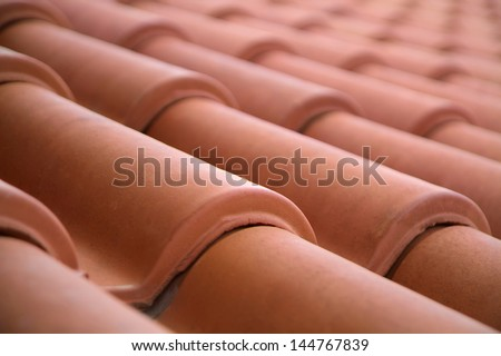 Close-up of roof tiles - stock photo