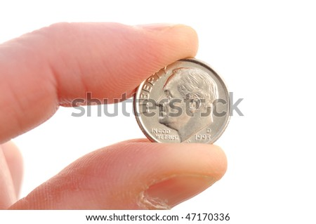 Close-up of Roosevelt Dime Coin Isolated on White