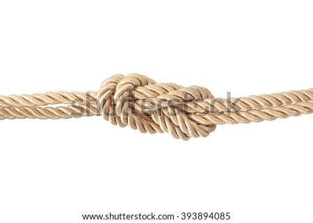 Close-up of rope with knot isolated on white