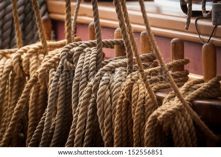close up of ropes on a sailing ship - stock photo