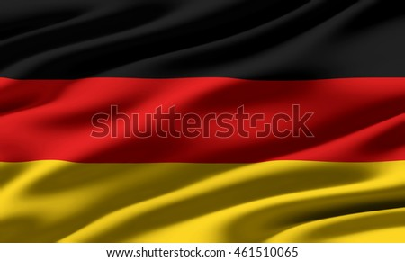 Close-up of ruffled flag of Germany, background texture (High-resolution 3D CG rendering illustration)