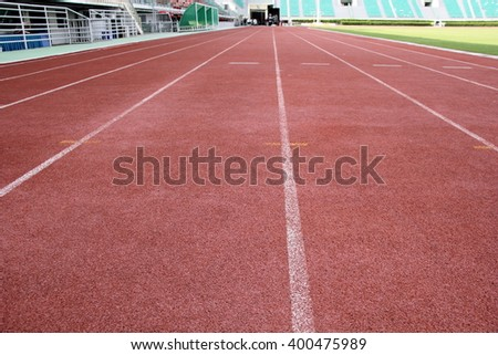 Close up of Running track on the sports field