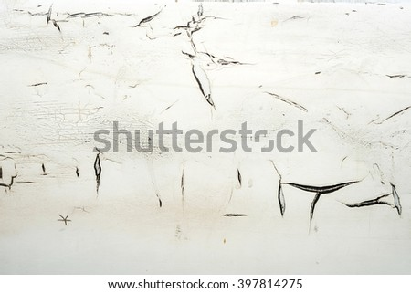 Close up of rusted on steel with cracked paint texture, grunge background - stock photo