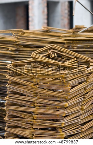 Close-up of Rusty High Tensile Deformed Steel Bar - stock photo