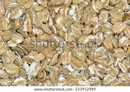 Close-up of  rye flakes for a breakfast - stock photo