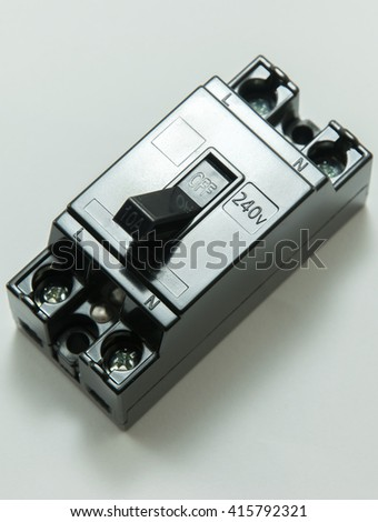 close up of safety breaker, Circuit breaker - stock photo