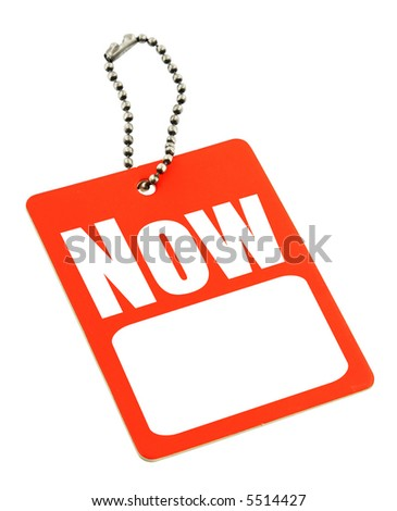 close-up of sale tag with copy space isolated on white - stock photo
