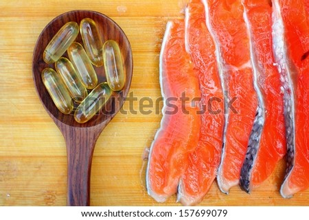 Close-up of salmon oil capsules - stock photo