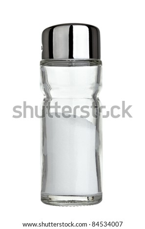 close up of  salt shaker on white background with clipping path - stock photo