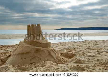 Close-up of sandcastle on Bournemouth beach, Dorset (UK) - stock photo