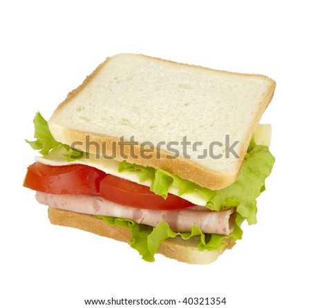 close up of sandwich on white background  with clipping path