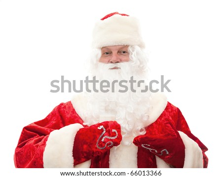 Close up of Santa Claus with a glass of milk isolated on white - stock photo