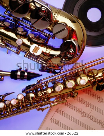 Close-up of Saxophones - stock photo