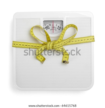 close up of scale and  tape  on white background with clipping path - stock photo