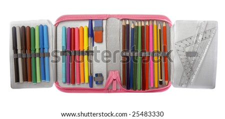 close up of school supplies in pencil case  on white background with clipping path