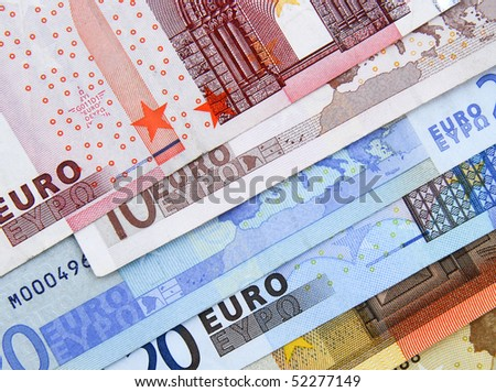 Close up of  selection of Euro bank notes