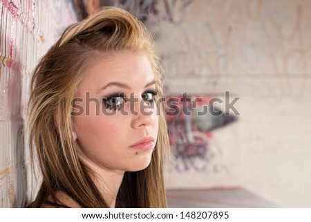 Close up of serious young European teenaged girl - stock photo