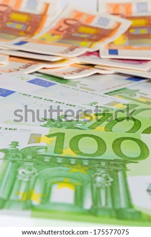 close up of several euro bills - stock photo