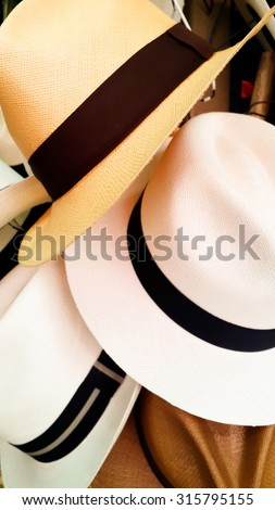 Close up of several Panama Hats in a Rack at a Store in Guayaquil Ecuador