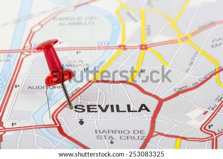 Close up of Sevilla map with red pin