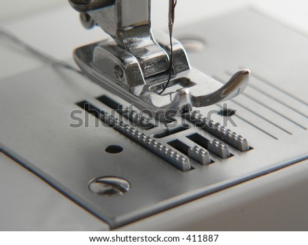 Close-up of Sewing Machine - stock photo
