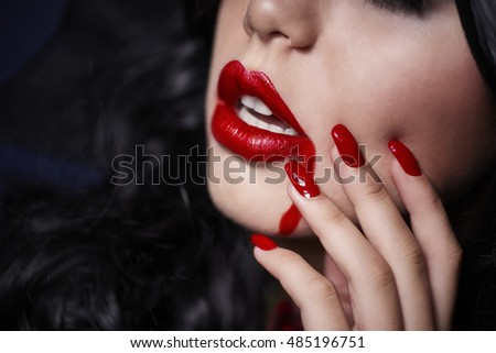 Close up of sexy vampire lips