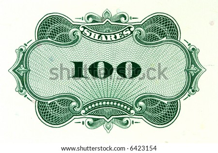 Close-up of 100 shares certificate. Vintage scripophily object. - stock photo
