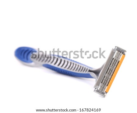Close up of shaving razor. Blurred. Isolated on a white background. - stock photo