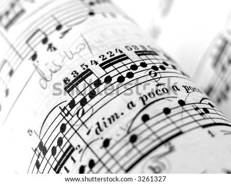 close up of sheet music - stock photo