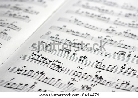 close-up of sheet music of a transcription of a jazz improvisation - stock photo