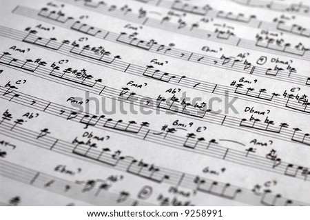 close-up of sheet music / score of an old jazz classic - stock photo