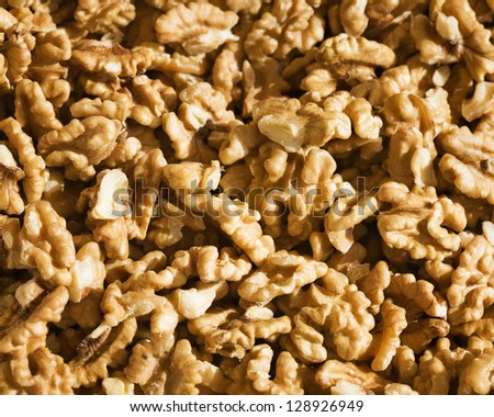 Close-up of shelled walnuts at farmers market in Turkey - stock photo