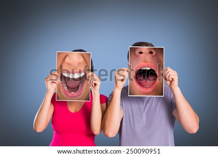 Close up of shocked man against grey vignette - stock photo