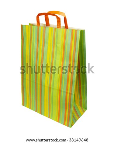 close up of shopping bag on white background with clipping path