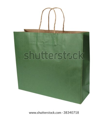 close up of shopping bag on white background with clipping path - stock photo