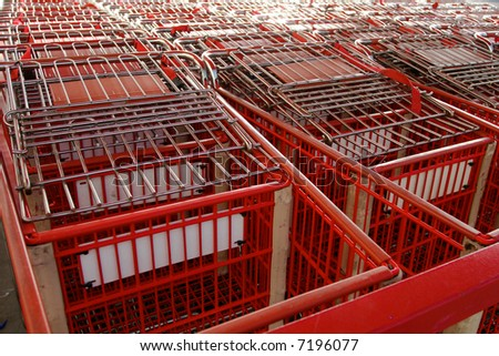 close-up of shopping carts, focus on front cart - stock photo