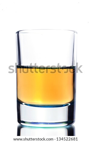 Close up of shot alcohol drink on white background