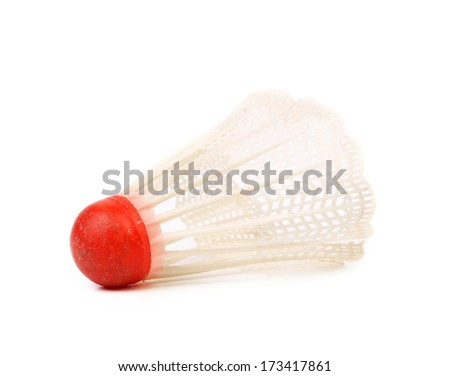Close up of shuttle cock. Isolated on a white background.