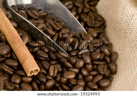 Close up of silver coffee bean shovel and canvas sack