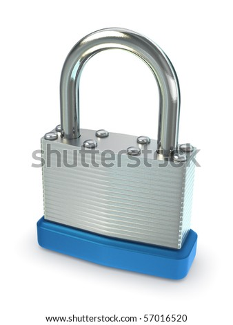 Close up of silver padlock. Includes clipping path. - stock photo