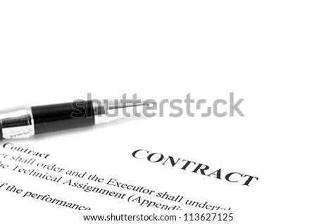 Close-up of silver pen on contract. isolated - stock photo