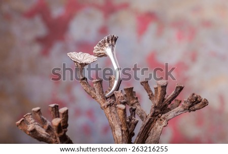 Close up of silver ring, manufactured by Ornella Salamone - stock photo
