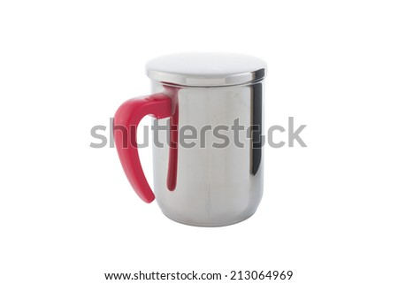 Close-up of silver thermos mug and Handle Red isolated on white background and clipping path - stock photo